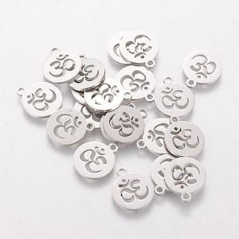 304 Edelstahl Anhänger / charms, flach rund mit Ohm, Edelstahl Farbe, 14x12x1 mm, Bohrung: 1.5 mm