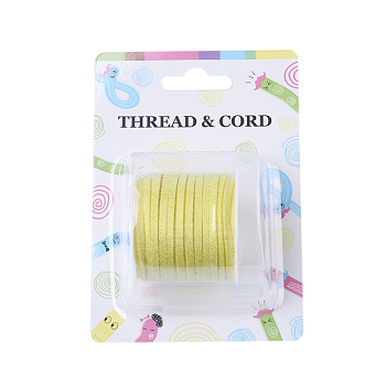 Environmental Faux Suede Cord, with Glitter Powder, Yellow, 3x1.4mm; about 5m/roll