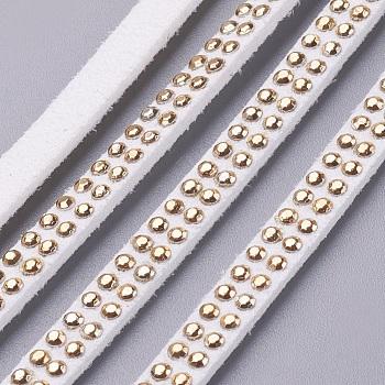 Cordon imitation daim, avec des strass dorés, pour la fabrication de bijoux punk rock, blanc, 5x2 mm; environ 1 m / brin
