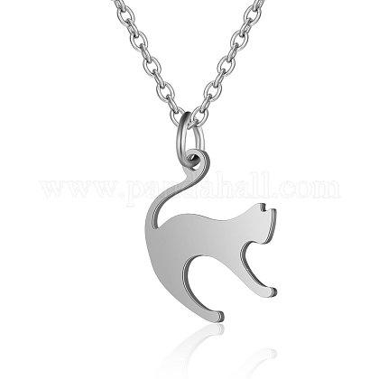Collares con colgantes de gatito de acero inoxidable 201NJEW-T009-JN126-40-1-1