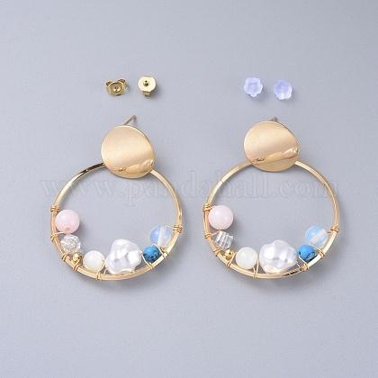 Plastic Imitation Pearl Dangle EarringsEJEW-JE03463-1