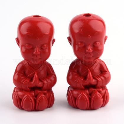 Buddhist Monk Cinnabar BeadsCARL-Q004-26-1