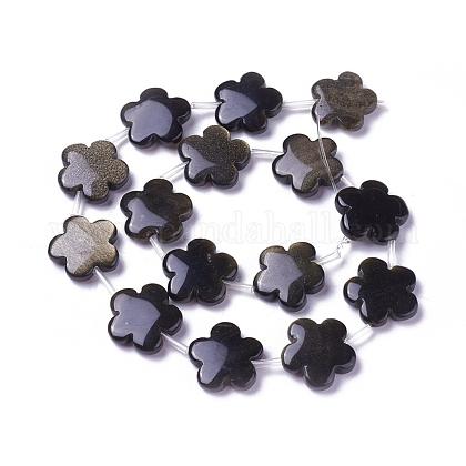 Brillo dorado natural de abalorios de obsidiana hebrasG-P422-02-1
