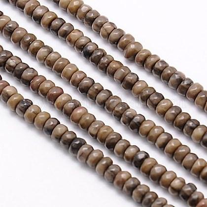 Chapelets de perles en bois pétrifié naturelG-G551-06-1