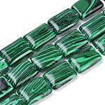 Cuentas de malaquita sintética hebras, Rectángulo, 18x13x5mm, agujero: 1 mm; aproximamente 22 unidades / cadena, 15.7 pulgada