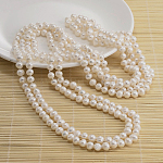 Natural Pearl Beads Necklace, White, 62.9inches