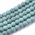 Gemstone Beads, Synthetical Turquoise, Round, SkyBlue, 4mm, Hole: 1mm; about 90pcs/strand