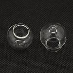 Handmade Blown Glass Beads, Half Drilled, Glass Globe, Clear, 22x20mm, Hole: 8~10mm; Opening Diameter: 11~14mm