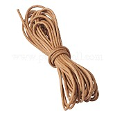 Cowhide Leather Cord, Leather Jewelry Cord, Jewelry DIY Making Material, Round, Chocolate, 2mm