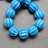 Handmade Porcelain Beads, Bright Glazed Porcelain, Pumpkin, DodgerBlue, 13x12mm, Hole: 2mm