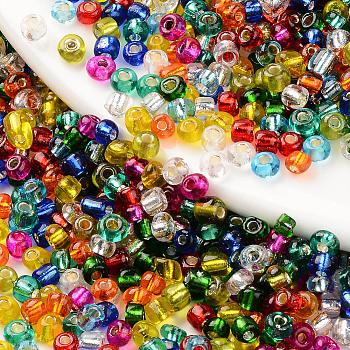 6/0 Perlas de semillas de vidrio, plata forrada agujero redondo, redondo, color mezclado, 6/0, 4~4.5x2.5~3.5mm, agujero: 1 mm, aproximamente 450 g / bolsa