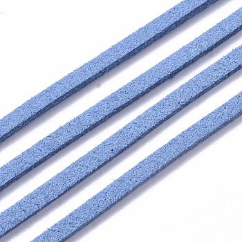 Cordón de ante en tono azul dodger, encaje de imitación de gamuza, aproximamente 1 m de largo, 2.5 mm de ancho, aproximamente 1.4 mm de espesor, 1 m / cadena