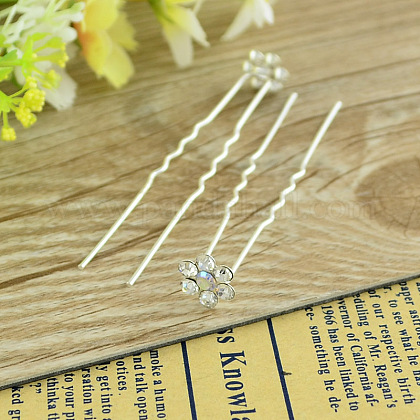 Bridal Party Wedding Decorative Hair Accessories Silver Color Iron Rhinestone Flower Hair Forks For LadyPHAR-S171-06-1