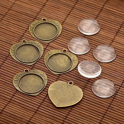 Cardiaques alliage mot sculpté supports pendentif cabochon amour de la lunette et cabochons de verre transparent rondes platesDIY-X0226-AB-NF-1