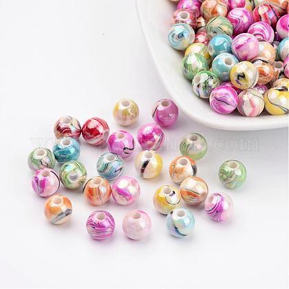Abalorios de acrílico color mezclado redondo bubblegum grueso de color ola ab impresosX-MACR-Q151B-M-1