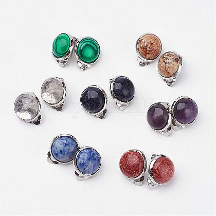 Natural & Synthetic Mixed Stone Brass Clip-on EarringsEJEW-A051-B-1