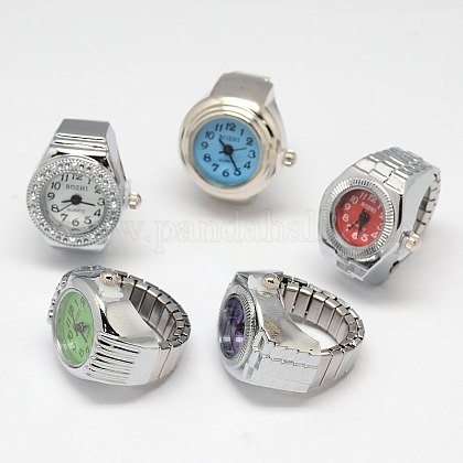 Mixed Stretch Watch Band Alloy Finger Ring WatchesWACH-M005-M-1