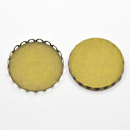 Brass Lace Edge Bezel CupsKK-F0330-AB-1
