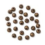 アンティークブロンズカラー真鍮質感ラウンドビーズ, ニッケルフリー, サイズ:直径約6mm, 穴:1mm