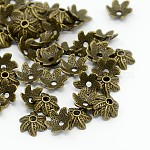 Tibetan Style Alloy Bead Caps, Lead Free & Cadmium Free, Antique Bronze, about 11mm long, 10mm wide, 5mm thick, hole: 2mm