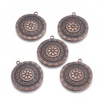 Подвески тибетского стиля, без свинца и без кадмия, плоско-круглые, Красная медь, длиной около 33 мм , шириной 30 мм , толстый 3 мм , отверстие : 2 мм