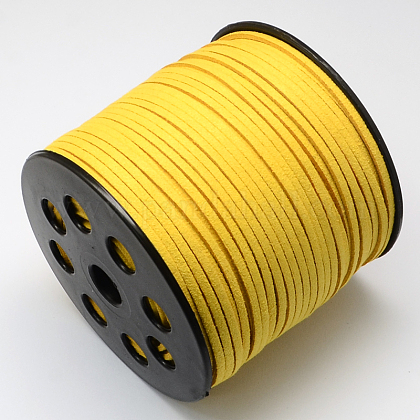 Environmental Faux Suede Cord, Faux Suede Lace, Gold, 3.0x1.4mm; 90m/roll LW-R007-3.0mm-1061