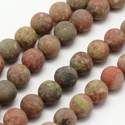 Natural Unakite Beads Strands G-D689-8mm-1