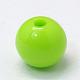 Verdes opacos redondas abalorios de acrílico entrepiezasX-PAB703Y-6-2