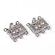 Platinum Plated Brass Rhinestone Clasps, Multi-strand Box Clasps, about 18mm wide, 17mm long, 7mm thick; hole: 1.5mm