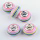 Resin European Beads, Large Hole Beads, with Silver Plated Brass Double Cores, Rondelle, Pink, 14x8~8.5mm, Hole: 5mm