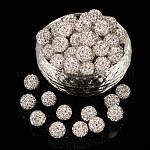 Pave disco бусины, Бусины со стразами, полимерная глина , класс А, круглые, кристалл, PP14 (2~2.1 мм); 10мм, отверстие : 1.0~1.2 мм
