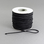 Round Elastic Cord, with Nylon Outside and Rubber Inside, Black, 2mm; 40m/roll