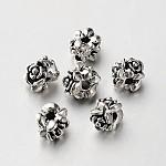 Сплавочные бусины тибетского стиля, дизайн цветка, античное серебро, 7x6 мм, отверстие : 2 мм