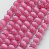 Cat Eye Beads, Round, HotPink, 6mm, Hole: 1mm; about 66pcs/strand, 14.5