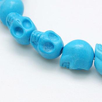 Синтетические бусины из магнезита, окрашенные, Хэллоуин, череп, голубой, 10x8x9.5 мм, отверстие : 1 мм, около 40 шт / нитка, 15.7 дюйм