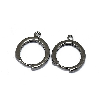 Alloy Huggie Hoop Earring Findings, Long-Lasting Plated, Circle Ring, Gunmetal, 16.5x13.5x2mm, Hole: 1.2mm; Pin: 0.8mm