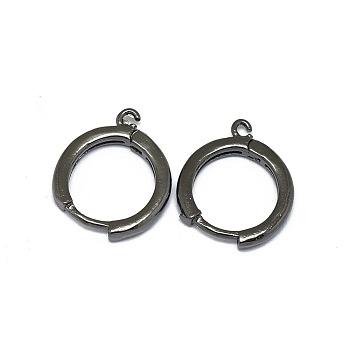 Fornituras del pendiente de aro huggie de aleación, Plateado de larga duración, anillo circular, gunmetal, 16.5x13.5x2mm, agujero: 1.2 mm; pin: 0.8 mm