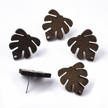 Walnut Wood Stud Earring Findings, with 304 Stainless Steel Pin, Monstera Leaf, Coconut Brown, 20x18mm, Hole: 1.8mm, Pin: 0.7mm