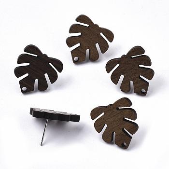 Fornituras de aretes de madera de nogal, con 304 perno de acero inoxidable, hoja de monstera, coco marrón, 20x18mm, agujero: 1.8 mm, pin: 0.7 mm