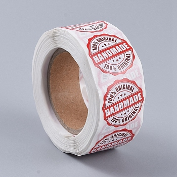 100% Orginal Handmade Stickers, Adhesive Label Stickers, for Baking Store, Party, Red, 25mm; about 500pcs/roll