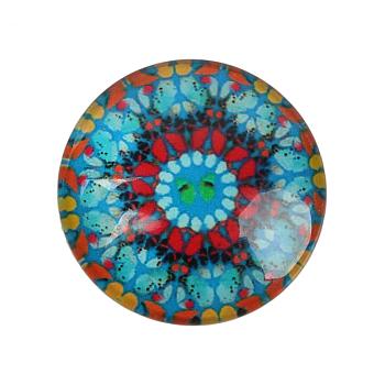 Cabuchones de flor geométrica de vidrio, medio redondo / cúpula, turquesa, 12x4mm