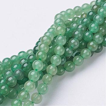 Cuentas de aventurina verde natural hebras, redondo, 6mm, agujero: 0.8 mm, 15~16 pulgada