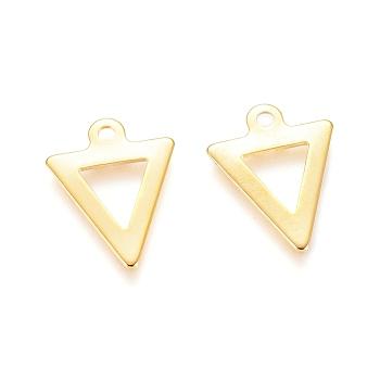 Encantos de 304 acero inoxidable, triángulo, dorado, 12x9.5x0.5mm, agujero: 1 mm