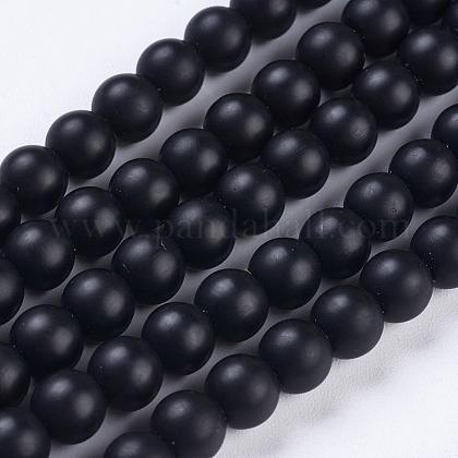Synthetic Black Stone Beads StrandsG-R345-6mm-38-1-1