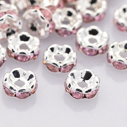 Brass Rhinestone Spacer BeadsRB-A014-L6mm-27S-NF-1