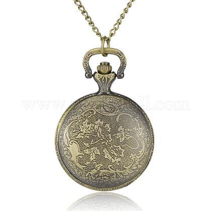 フラットラウンド合金クォーツ懐中時計をフィリグリーWACH-N039-14AB-1