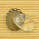 Anciennes supports laiton bronze pour cabochon et cabochons en verre ovales claires et transparentes pour la fabrication de bijoux bricolageKK-MSMC015-14-4