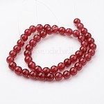Natural White Jade Bead Strands, Dyed, Round, DarkRed, 8mm, Hole: 1mm; about 50pcs/strand, 15.7''