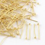 Brass Ball Head Pins, for DIY Beading Charm Making, Cadmium Free & Lead Free, Golden, 30x0.5mm, Head: 2mm