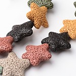 Abalorios de lava natural hebras, Estrella de mar / estrellas de mar, teñido, color mezclado, 24~25x7~8mm, agujero: 1 mm; aproximamente 18 unidades / cadena, 15